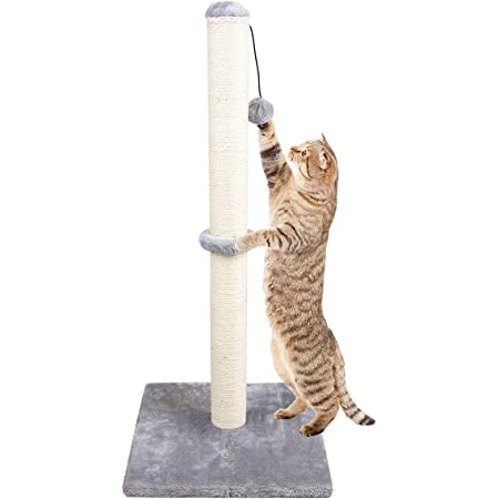"""Dimaka 34"""" Tall Ultimate Cat Scratching Post, Claw Scratcher with Sisal Rope and Covered with Soft Smooth Plush, Vertical Scratch [Full Stretch], Modern Stable Design"""