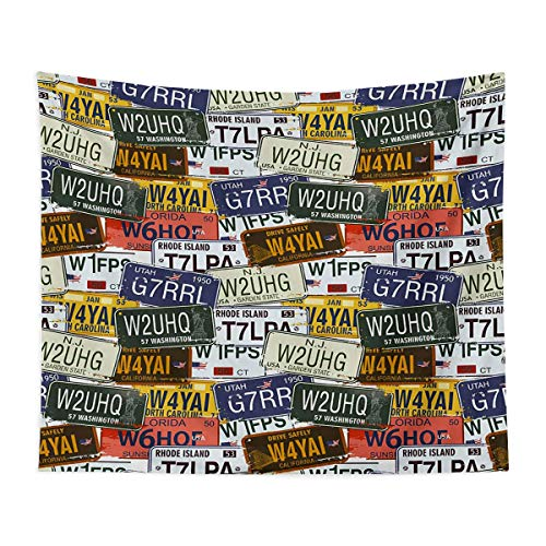 Tapestry Wall Hanging 3D Printing - Retro American Auto License Plates Utah Washington Rhode Island North Carolina Print - Bedroom, Family Dormitory, Fun Gifts,51x59 Inch