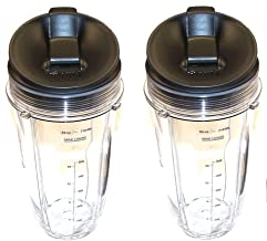Sduck Replacement Parts for Nutri Ninja Blender, Regular Two 24oz. Cups & Sip & Seal lids With marks for measuring For 900w 1000w Auto-iQ and Duo Blenders Nutri Ninja Blender Accessories