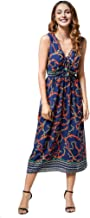 PaJau Women's Bohemia Floral Printed Maxi Dress Casual V-Neck Wrap Sleeveless Loose Long Dress Plus Size A-Line Dress