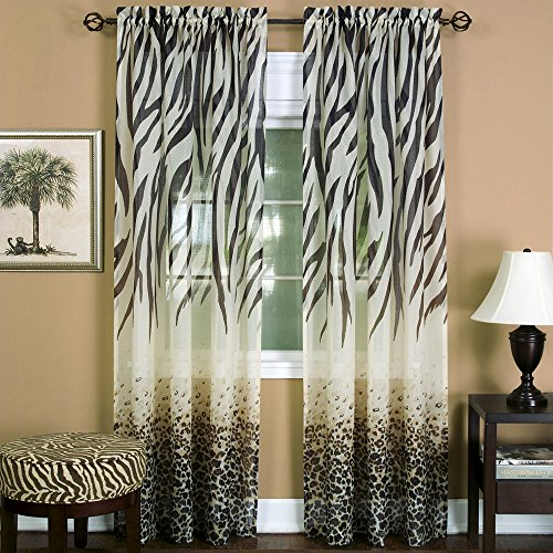 "Designer Home Window 2-Pack Panel Curtain Animal Print Zebra Semi-Sheer Light Filtering Panel (52"" W x 84"" L, Tan)"