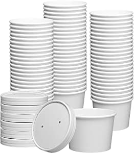 8 oz. Paper Food Containers With Vented Lids, To Go Hot Soup Bowls, Disposable Ice Cream Cups, White - 50 Sets