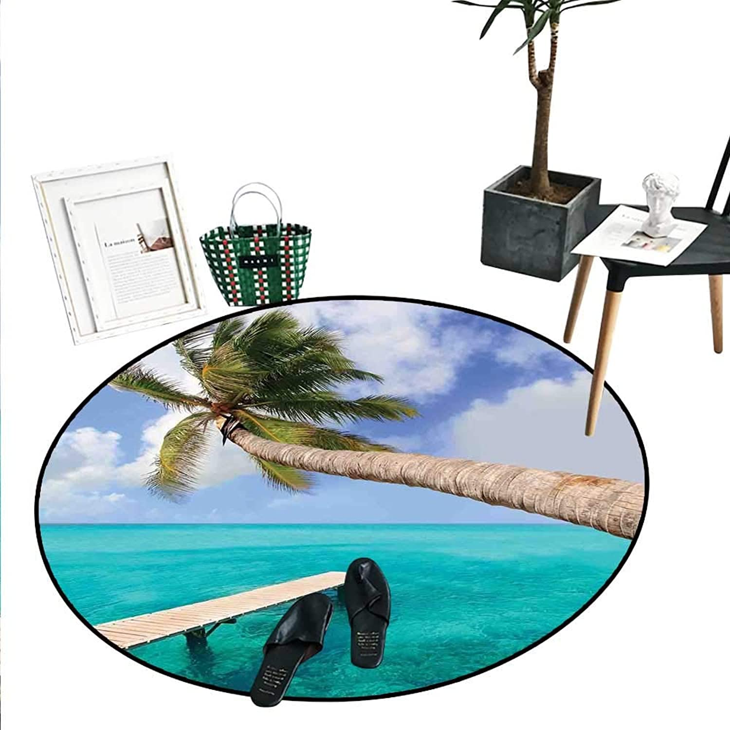 Beach Dining Room Home Bedroom Carpet Floor Mat Palm Tree Bend Over Tropical Beach Clear Ocean Jetty Landmark Picture Print Soft Area Rugs (4'2  Diameter) Aqua bluee Green