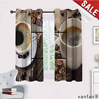 LQQBSTORAGE Brown,Bedroom Curtains 2 Panel Sets,Coffee Themed Collage Close Up Mugs Beans On Wooden Table Aromatic Roasted Espresso Drink,Complete Darkness,Noise Reducing Curtain,Brown
