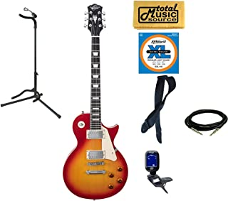 Oscar Schmidt OE20CS LP Style Electric Guitar Stand Bundle - Cherry Sunburst