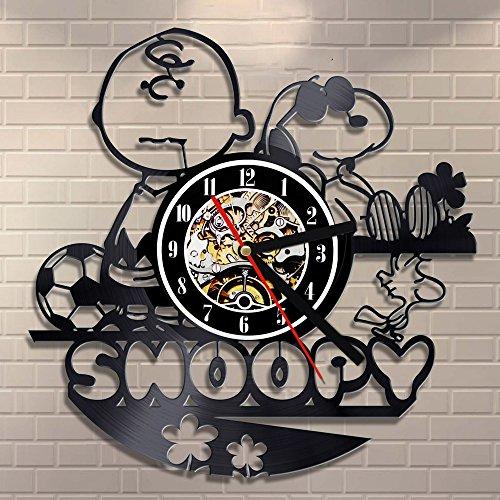 OZ6YA Kreative Cartoon Anime Vinyl Uhr Snoopy Rekord Wanduhr Klassische Animation niedlichen Welpen dekorative Uhr 6