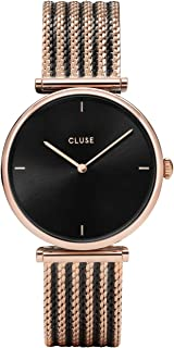CLUSE Triomphe Mesh Bicolour Rose Gold Black Black CL61005 Women's Watch 33mm Stainless Steel Bracelet Minimalistic Design Casual Dress Japanese Quartz Precisio