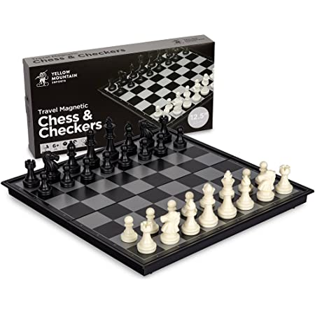"""Yellow Mountain Imports 2 in 1 Travel Magnetic Chess and Checkers - 12.5"""""""