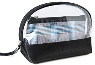Women's new convenient PU storage cosmetic bag two-piece travel wash bag Khouses (Color : Clear, Size : Free size)