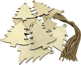 NC 10 Peças de Madeira com Corte a em Formato de árvore de Natal E Decoração de Enfeite Pendurada