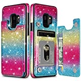 HianDier Wallet Case for Galaxy S9, Slim Protective Case with Credit Card Slot Holder Flip Folio Soft PU Leather Magnetic Closure Cover Case Compatible with Samsung Galaxy S9, Rainbow