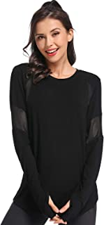 Muzniuer Womens Long Sleeve Workout Shirts-Plain Long Sleeve Tshirt for Women Yoga Sports T-Shirt Activewear with Thumb Hole