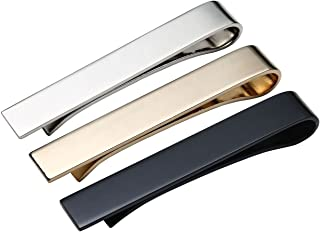 Personalized Master Free Engraving Custom Stainless Steel 3pcs Mens Tie Bar Clip Tie Pin Set, 2.1 Inches Silver Black Gold Tone + Gift Box