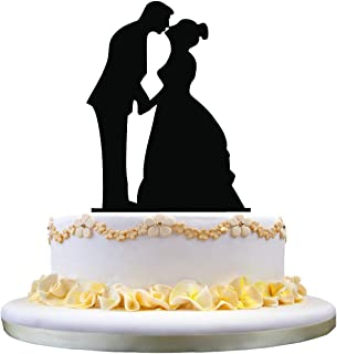 zhongfei Wedding Cake Topper- Silhouette of Kissing Couple, Bride and Groom Topper Stand for Wedding Decoration