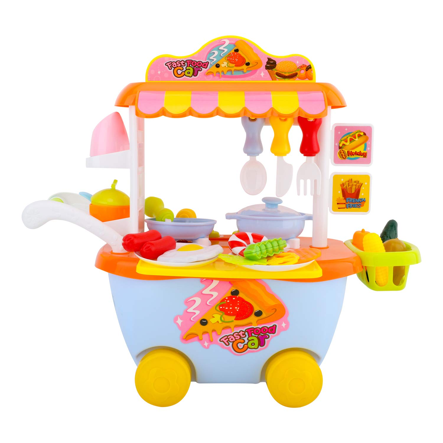 Amazon Com Zooawa Fast Food Truck Play Set With Cooking Sound 34 Pcs Kids Food Play Bus With Food And Dishes Supermarket Trolley Cart Toys Kitchen Pretend Play Toy Set For Toddlers Colorful