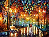 PROW Paintings Night Rain Together with You, Large Format, for Adults, Colorful Intellective Games, Wooden Jigsaw Puzzles, 1000 Piece, Finish Size 30''x20''
