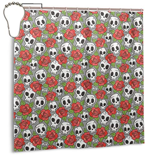 D.ADcustom Custom Shower Curtain Skulls and Roses Waterproof Bath Curt