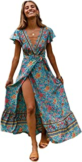 Women's Bohemian Ruffle Floral Printed Wrap V Neck Short Sleeve Split Beach Party Maxi Dress