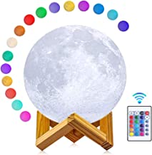 ABEICO 3D Moon Lamp LED Night Light with Stand & Cord-16 Colors, Dimmable, Rechargeable Moon Light Lamps(Large,5.9in) Remote & Touch Control, Nursery Decor for Your Baby, Secret Santa Gifts for Women