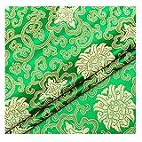 Tela De Satén Imitar La Seda Damasco Brocado Jacquard Flores Vintage para Hacer Bricolaje Coser Patchwork Disfraz Paño para Envolver Manteles Tapicería(Size:3m,Color:12 Green)