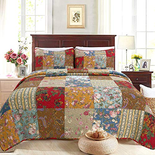 Cozy Line Home Fashions Ryleigh Floral Print Real Plaid Patchwork, 100% Cotton Reversible Coverlet, Bedspread Quilt Bedding Set (Khaki / Red, Queen - 3 Piece)
