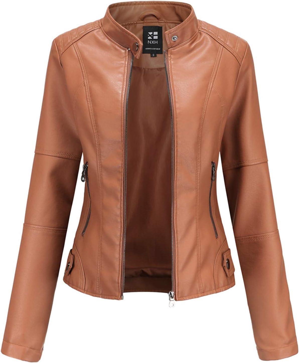 Women's PU Leather Jacket, Faux Moto Biker Slim Fit Jacket with Zip Pockets, Slim Fit Outwear Vintage Short Coat for Autumn, Spring (5 Colors)