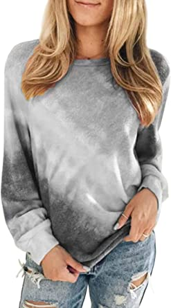 heekpek Sudaderas Mujer Sweatshirt Casual Pullover Mujer Tie Dye Sudaderas sin Capucha Cuello Redondo Camiseta Manga Larga Mujer para Primavera Otoño ...