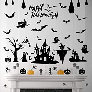 79 Pcs Halloween Decorations Removable Spooky Wall Stickers Gel Black Bats Window Clings Pumpkins Skeleton Tomb Cats Tree ...