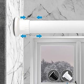 Prodigen Tension Curtain Rod,No Drilling Adjustable Tension Rod for Kitchen,Bathroom,Window,Bedroom,Balcony,Cupboard, Wardrobe, Bookshelf Room Divider Tension Rod White 28-43 Inch