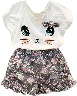 Toddler Baby Girls Cute Cat T-Shirt+Floral Shorts Kids Summer Clothes Set