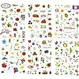 Oblique Unique® 150 x Bunte Blumen Backen Küchen Deko Mini Sticker - Niedliche Dekoration