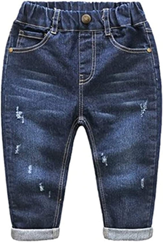 Max 79% OFF BARUN Baby Boys Girls Elastic New popularity Waist Denim Jeans Ripped Pants