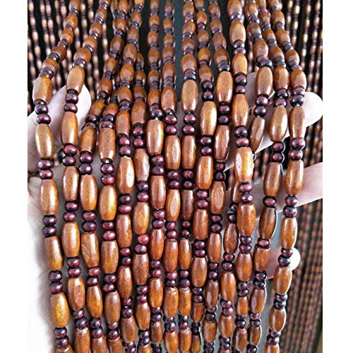 """Madamera 45 String Natural Wooden Beaded Curtains, Handmade High Density Retro Room Divider Panel, for Doorway/Hallway Decoration and Window Treatment, 35"""" x 79"""" (Coffee Color)"""