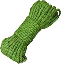 100% Natural Color Hemp Rope(8mm),20 Meters(65 ft) for DIY Decoration Gift,Green
