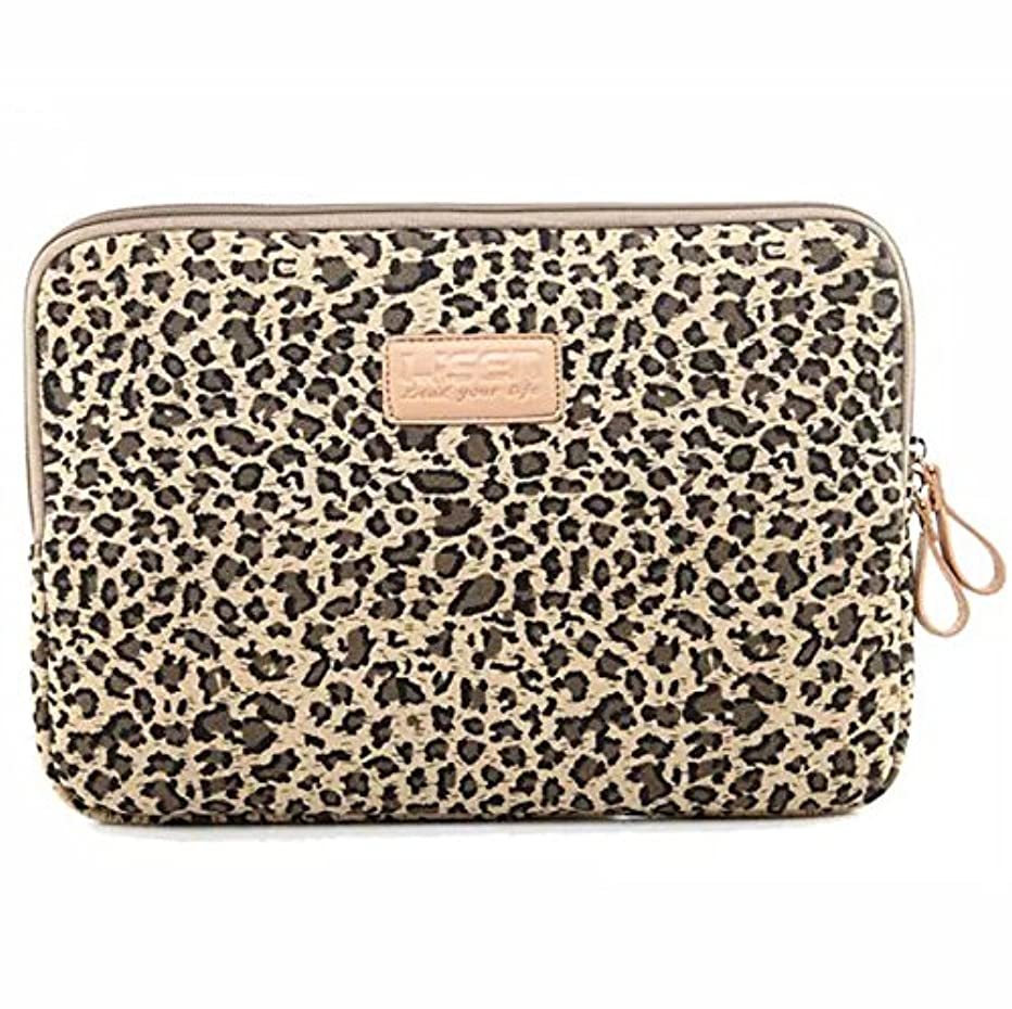 BagsFromUs Lisen Canvas Fabric Stylish Leopard's Spots Leopard Print Style 7-15.6 Inch Laptop Sleeve Computer Protective Carrying Case Bag Cover for iPad/MacBook/Dell/HP/Lenovo/Sony/Toshiba/Acer etc.