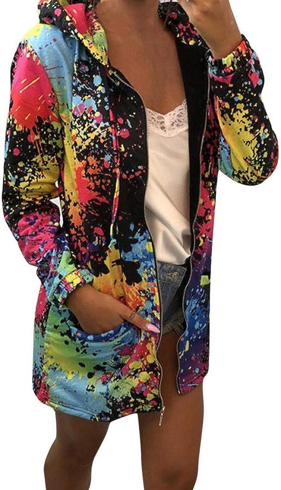 SPORTTIN Women's Novelty Zip Up Hoodie Tie Dye Paint Splatter Print Colorful Sweatshirt Artist Tops with Pockets