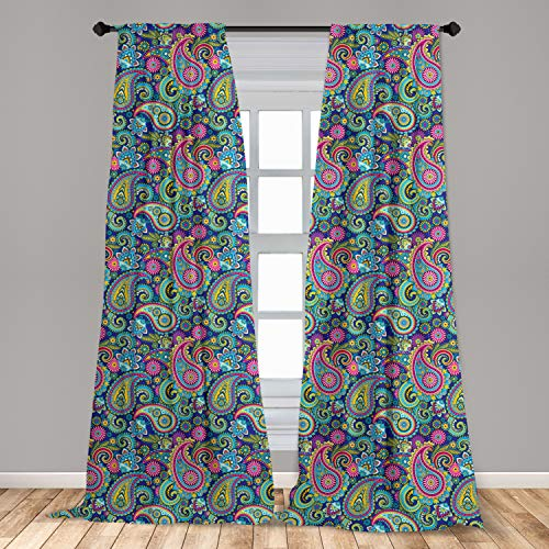 """Ambesonne Paisley Curtains, Ornate Traditional Paisley Elements with Details in Bohemian Design Print, Window Treatments 2 Panel Set for Living Room Bedroom Decor, 56"""" x 95"""", Teal Pink"""