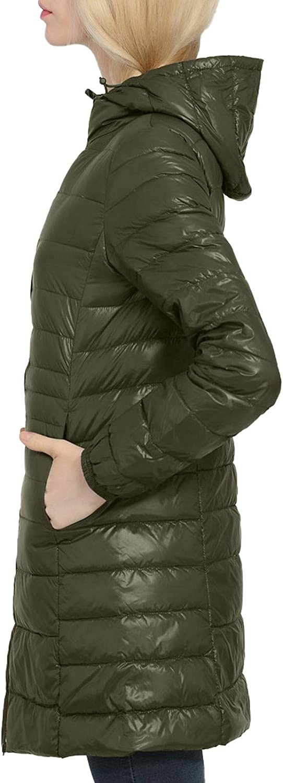 Zilosconcy Mantel Damen Wintermantel Lang Daunenmantel Leicht Winter Warm mit Kapuze Reißverschluss Elegant Steppmantel Übergangsmantel G