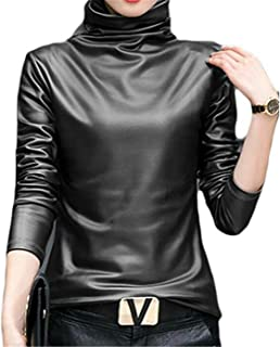 Gnao Women Slim Turtleneck Faux Leather Long Sleeve Blouse Top Shirt