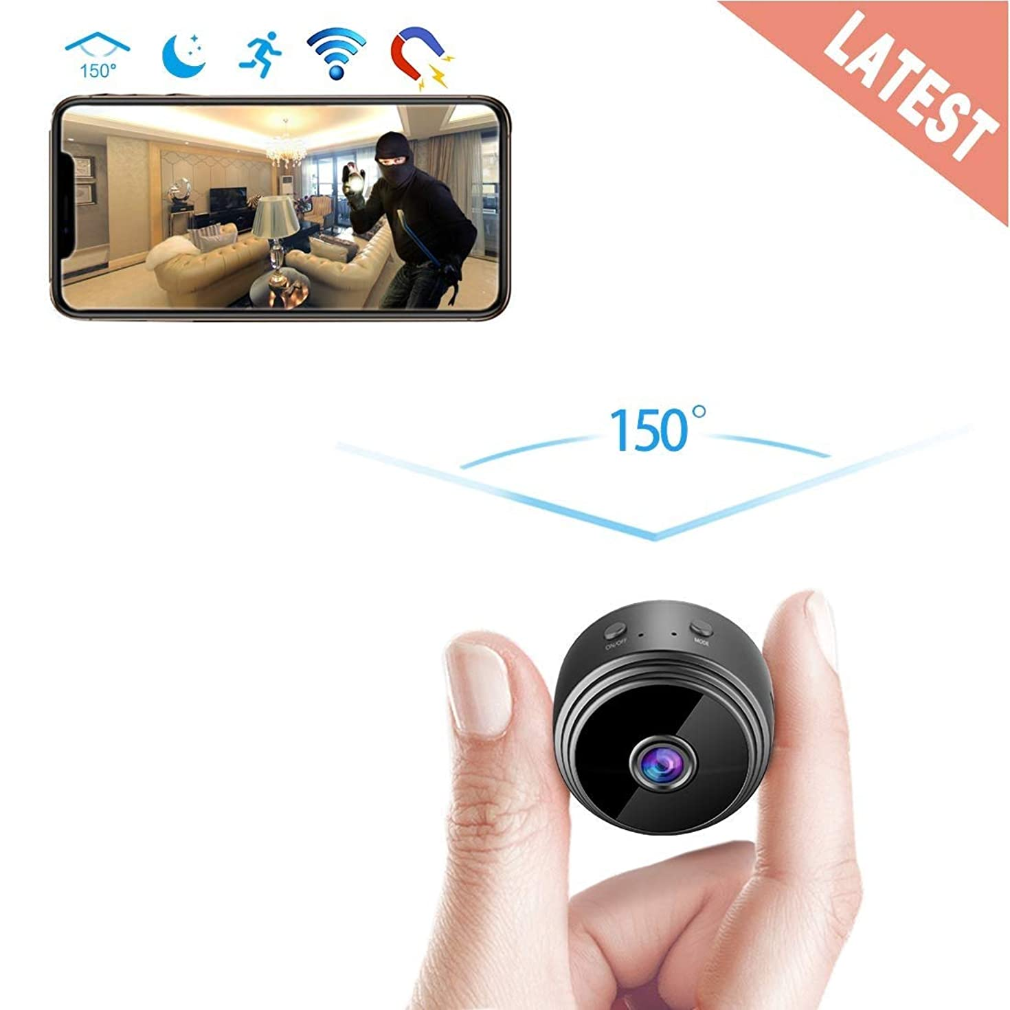 GXSLKWL Spy Camera Wireless Hidden WiFi Camera HD 1080P Mini Camera Covert Nanny Cam Small Indoor Video Recorder Motion Activated/Night Vision Portable Home Security Cameras