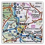 Impresionantes pegatinas cuadradas (juego de 2) 10 cm – Nancy City Francia mapa de viaje francés Divertidas calcomanías para portátiles, tabletas, equipaje, reserva de chatarras, neveras, regalo genial #45822