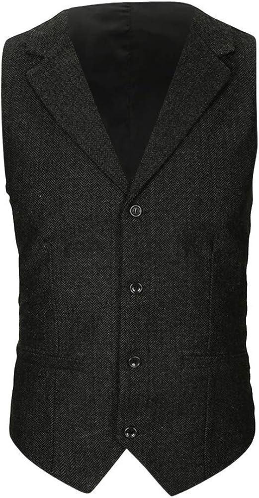 MODOQO Men's Lapel Suit Vest Casual Slim Fit British Style Waistcoat Jacket Top