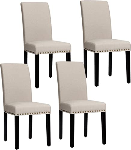 new arrival Giantex online Set of 4 Upholstered high quality Dining Chairs, w/Pine Wood Legs, Padded Seat, Fabric Parsons Chair for Dining Room (Beige) online