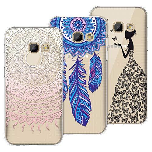 Yokata Kompatibel mit Samsung Galaxy A3 2017 Hülle Silikon Transparent Durchsichtig Handyhülle Schutzhülle TPU Dünn Slim Kratzfest mit Motiv [3 Pack] - Mandala + Feder + Mädchen und Schmetterling