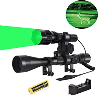 Ulako 250 Yards Range Green Light Tactical Flashlight with Scope Sight Mount for Coyote Hog Pig Varmint Predator Hunting