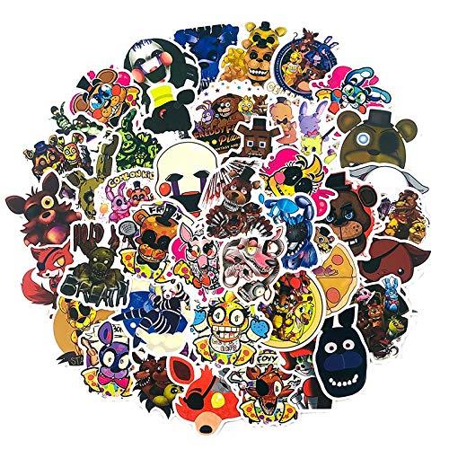 WOCAO Animación Five Nights At Freddy, Pegatina para Tableta, Ordenador, monopatín, álbum de Recortes, refrigerador, Pegatina de Regalo para niños, 50 Uds.