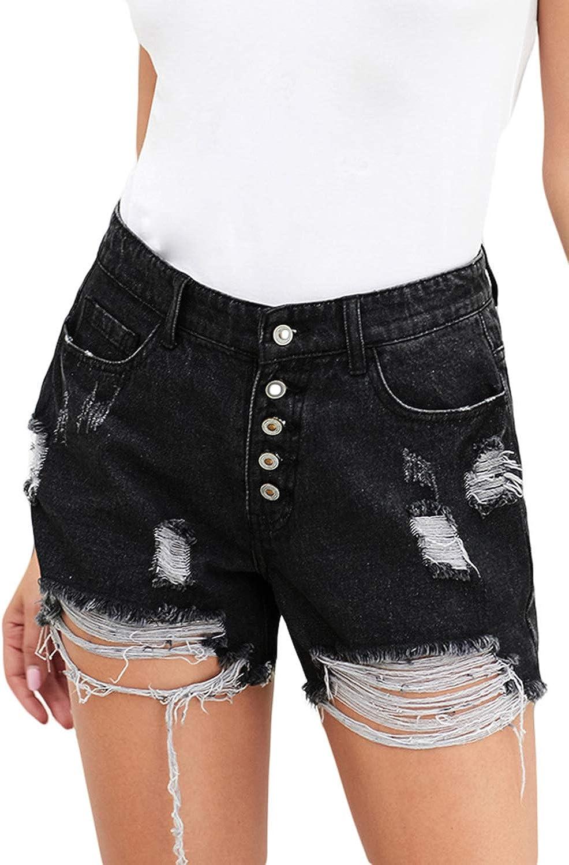 Cabala Women Raw Hem Mid Rise High Waist Distressed Ripped Hole Stretch Junior Denim Short Jeans Summer