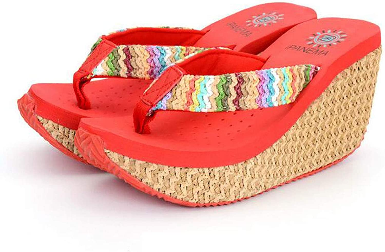 Platform Women Flip Flops,Bohemia Beach shoes Wedge Hole Slipper
