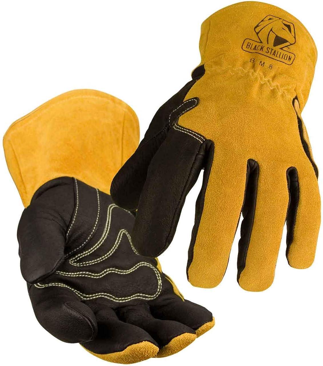 Black safety Stallion BSX BM88 half Xtreme Small Gloves Welding Pigskin MIG