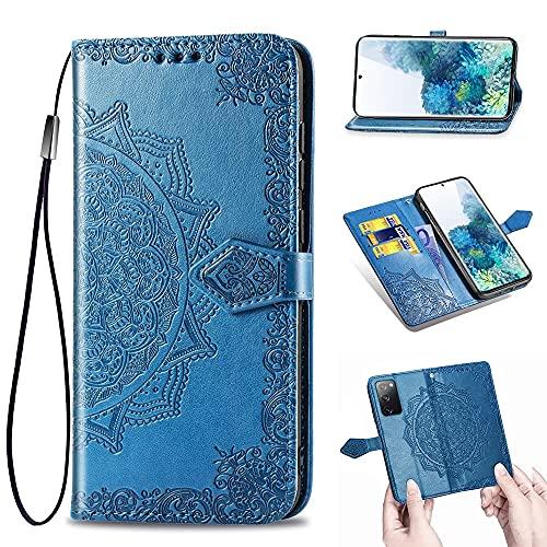 Laf&a Lederhülle für Samsung Galaxy S20 FE 4G/5G Hülle Klappbar Handyhülle mit Band Mandala PU Flip Schutzhülle mit Magnetverschluss Brieftasche Wallte Hülle für Samsung S20 FE 4G/5G Blau